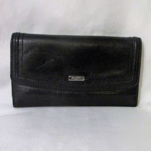 Fossil Trifold Black Leather Flap Clutch Wallet